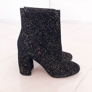 Black and Gold Speckled Heeled Booties